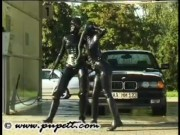 Carwash in full latex and gasmask porn