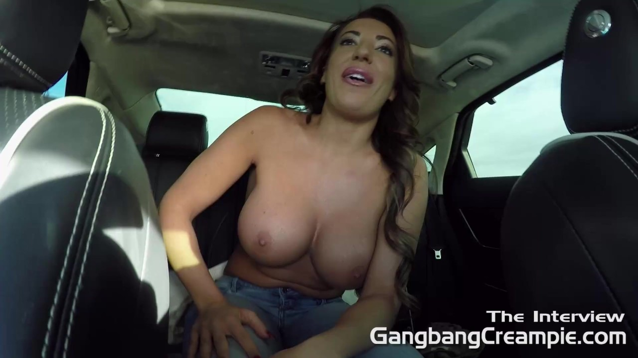 dirty MILF Richelle Ryan takes of her top in backseat of car. porn