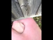 Public outdoor wank on a fence porn