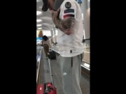 Public hardon in sweatpants in the airport EXPOSED for free