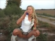 Blond in car drinking piss porn