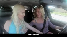 MYLF – Busty Milf And Lesbian Teen Scissor Fuck In The Car video