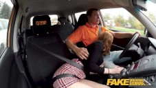 Fake Driving School hot redhead Lenina Crowne hot sex in a car video