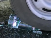 Glass Bottles Crushed Under Car Tires download