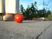 Tomato carelessly stepped on by heels porn
