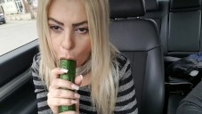 Public fuck with big cucumber until squirt- Car masturbation street for free