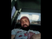 sexy dadbod with beard masturbating in public parking lot  porn