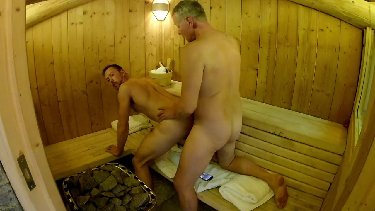 Mature Daddy Breeds Boy in Public Sauna — Older Younger Bareback Fuck for free