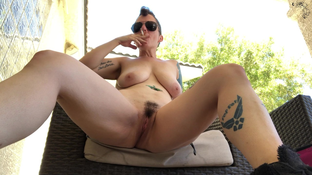 Nude Naked MILF Outdoor Public Cigarette Smoking porn